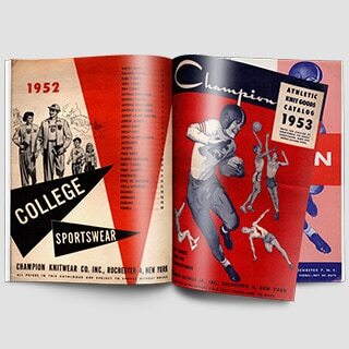 1930 - Champion became the brand of choice for college bookstores across America